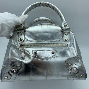 Balenciaga silver metallic mirrored leather bowler